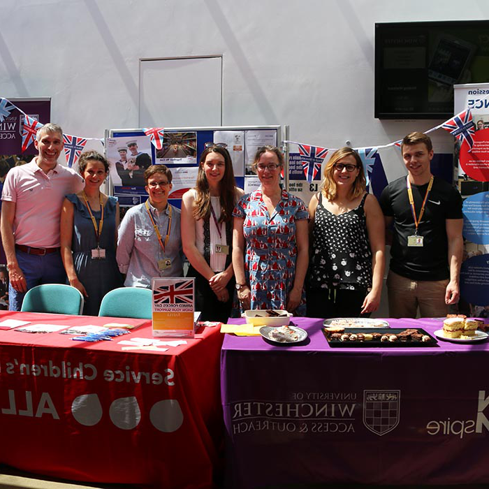 Photo of widening participation team at the information stands available for Armed Forces Day